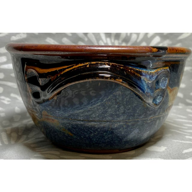 American 1990s Vintage American Studio Pottery Glazed Bread Baking Bowl For Sale - Image 3 of 7