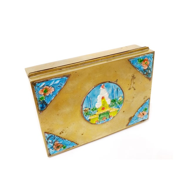 Early 20th Century Vintage Solid Brass Enamel Brass Hinged Box For Sale - Image 5 of 6