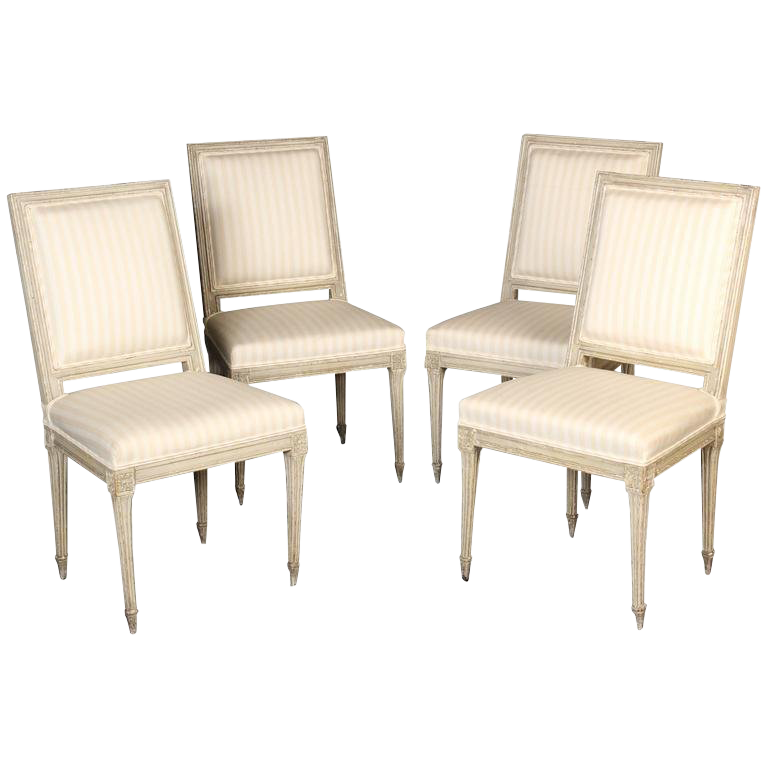 Late 19th Century Antique Louis XVI Style Painted Side Chairs   Set Of 4