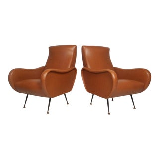 Pair of Vintage Modern Italian Style Lounge Chairs For Sale