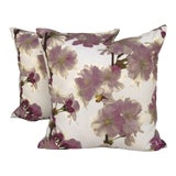 Image of Pink Dogwood Floral Pillows - A Pair For Sale