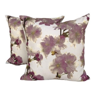 Pink Dogwood Floral Pillows - A Pair For Sale