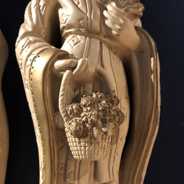 Chinoiserie Mid 20th Century Chalkware Emperor and Empress Wall Plaques - a Pair For Sale - Image 3 of 10