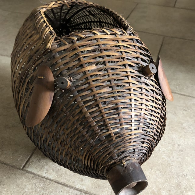 Brown Mid Century Bamboo and Wicker Pig Basket For Sale - Image 8 of 13