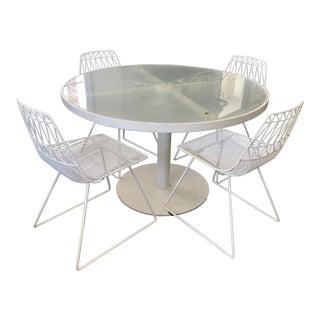 Italian Modern White Patio Set - Set of 5 For Sale