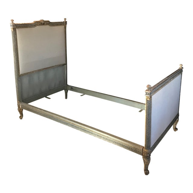 19th Century Louis XV Gray and Gilded Twin Bedframe For Sale