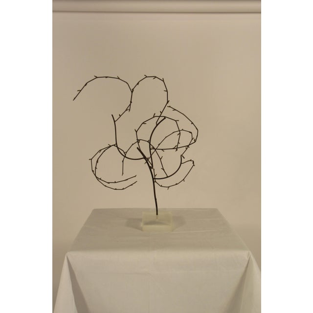 1970s free-form abstract sculpture on Lucite base.