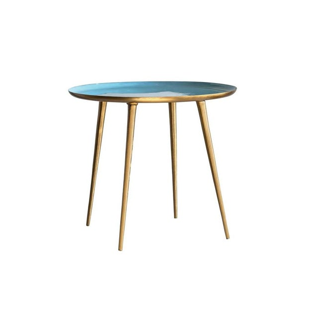 Classic Blue Enameled Table For Sale - Image 4 of 4