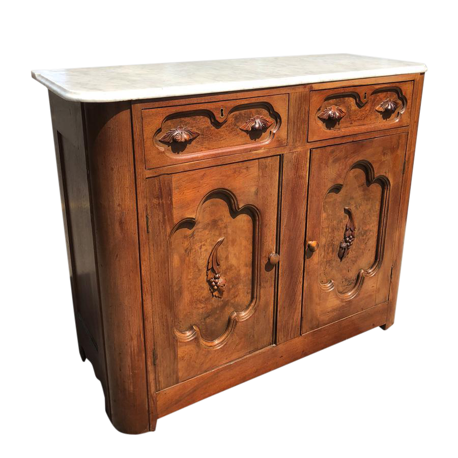 Antique Eastlake Victorian Marble Top Carved Burl Walnut Buffet Server  Cabinet