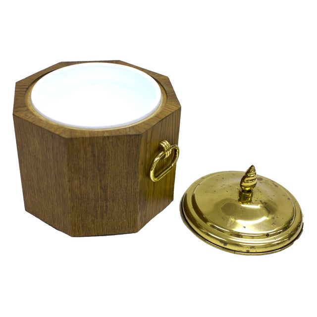 Mid-Century Modern Mid-Century Modern Brass and Wood Ice Bucket For Sale - Image 3 of 3