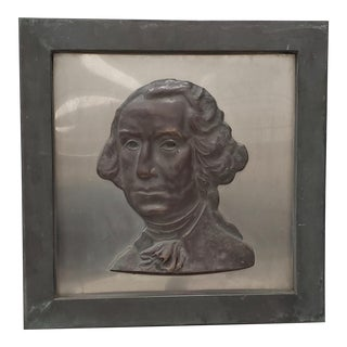 "Early 20th Century ""George Washington"" Bronze Wall Plaque C.1920s to 1930s For Sale"