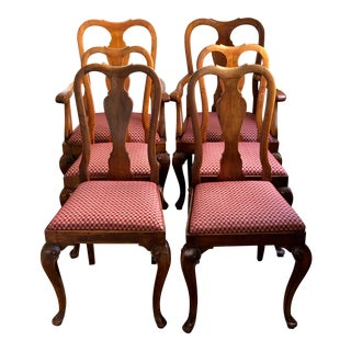 1940s Vintage Queen Anne Dining Chairs - Set of 6 For Sale