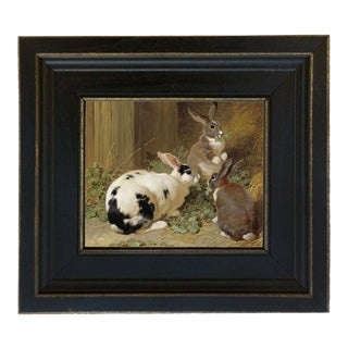 Early American Farmyard Rabbits Framed Oil Painting Print on Canvas in Black Wood Frame For Sale