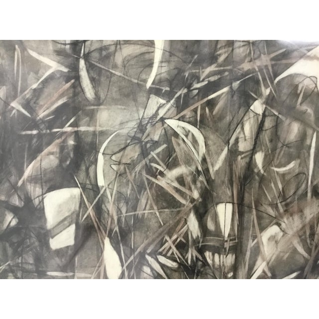 Large Format Framed Abstract Ink and Charcoal Drawing For Sale - Image 4 of 13