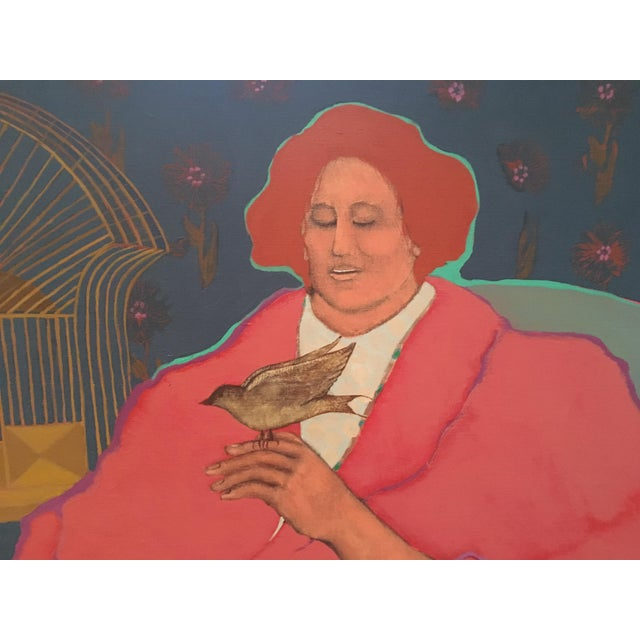 "Impressionism 1970s Impressionism Original Acrylic Painting on Canvas, ""Lady With Bird"" by Leslie Trewyn For Sale - Image 3 of 10"