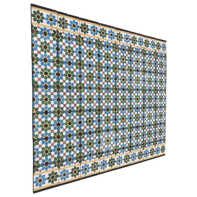 1990s Moroccan Hand-Crafted encaustic Cement Tile with Traditional Fez Moorish Design - Set of 56 For Sale - Image 13 of 13