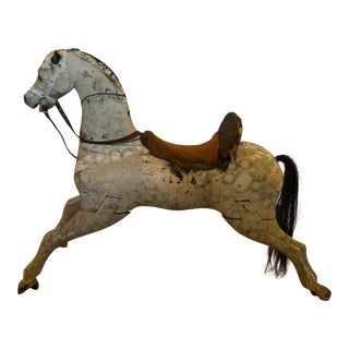 19th Century American Wooden Rocking Horse For Sale