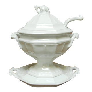 Porcelain Ironstone Soup Tureen with Ladle by Red Cliff
