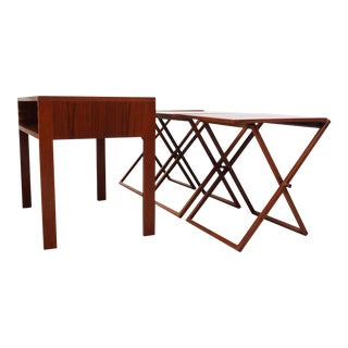 Nest of Three Teak Folding Tables by Illum Wikkelsø For Sale