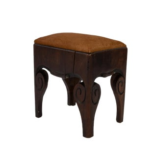 19th Century Oak Stool With Carved Scroll Sides English Circa 1810 For Sale