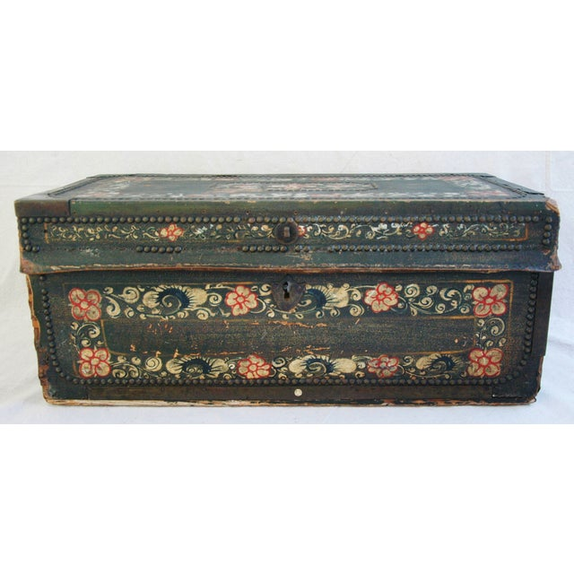 French 19th C. Hand Painted Leather Trunk - Image 3 of 10