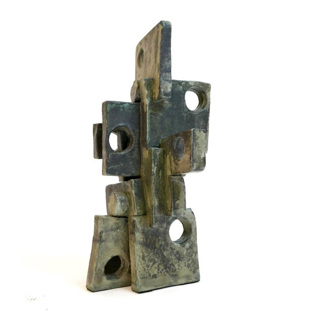 Modernist clay sculpture with a weathered bronze glaze by artist Judy Engel of upstate New York.