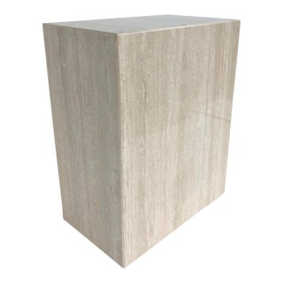 Vintage 1970s Monolithic Travertine Pedestal For Sale