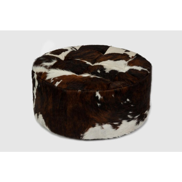 "Solly 24"" Ottoman Tri-Color Cloud. Hair on hide Please allow 4 weeks before the item ships."