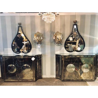 Floating Art Deco Concave Side Double Door Mirrored Cabinets / Console Table Preview
