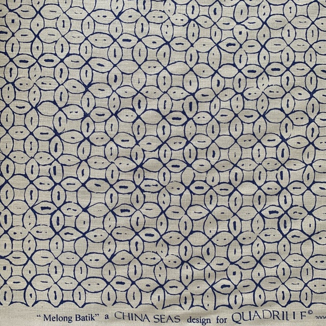 Quadrille China Seas Navy Melong Batik Linen Fabric- 2 Yards For Sale In New York - Image 6 of 7