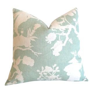 Mint Schumacher Shantung Silhouette Pillow Cover 16x16 For Sale