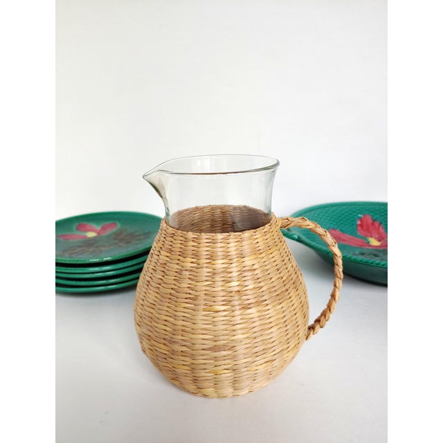 Tan Woven Wicker Wrapped Pitcher For Sale - Image 8 of 9