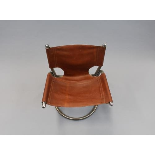 Italian Italian Mid Century Cantilevered Aluminum & Leather Chair For Sale - Image 3 of 4