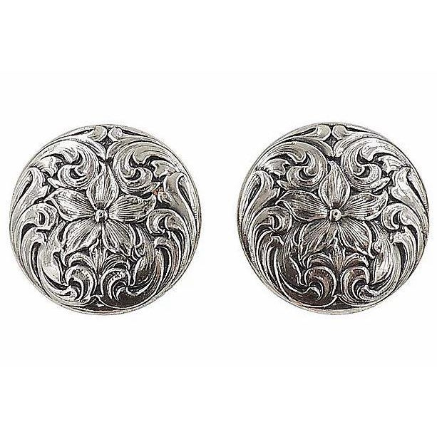 1960s 1960s Napier Silvertone Floral Earrings For Sale - Image 5 of 5