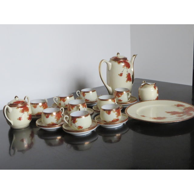 Asian Vintage Chinese Porcelain Espresso Cups & Saucers, Coffee Pot, Creamer, Sugar Bowl & Dessert Plate - Service for 9 For Sale - Image 3 of 10