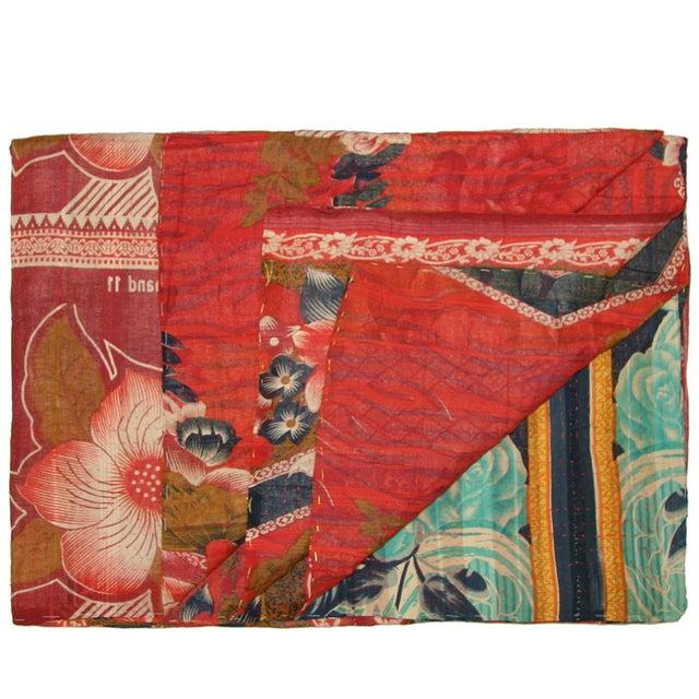 Vintage Floral Kantha Quilt - Image 1 of 3