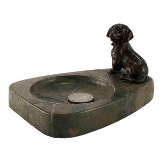Early 20th Century Antique Vienna Bronze Dachshund Dog Desk Tray For Sale