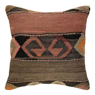 """Muted Mid-Century Kilim Pillow 16"""" For Sale"""