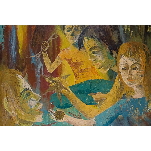 """Figurative """"Meditation"""" Oil Painting by Charlotte Ross Circa 1960 For Sale - Image 3 of 6"""