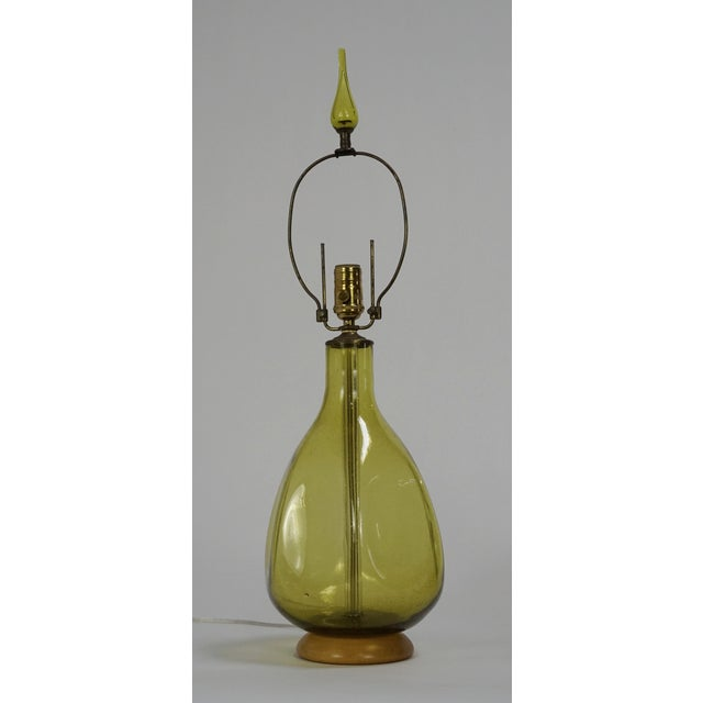 Pair of Green Blenko Glass Lamps with Matching Finials - Image 6 of 8