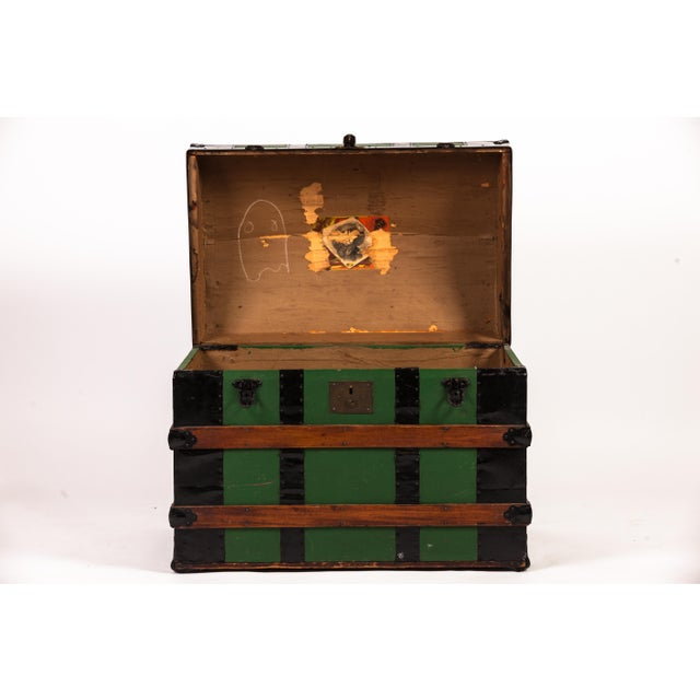 Antique Green Dome Carriage Trunk For Sale In New York - Image 6 of 13