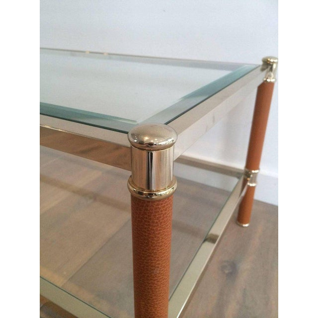 Gilt Brass and Leather Coffee Table by Lancel - Image 5 of 11