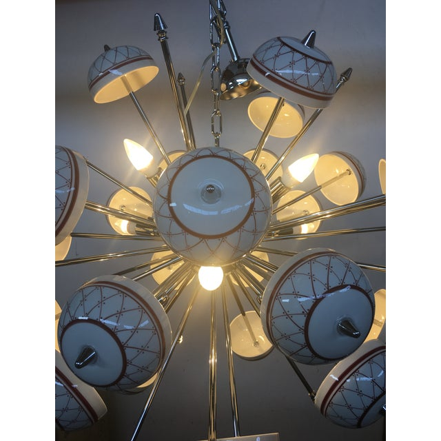 Italian Hand Made Painted Ceramic Chandelier Sputnik All cup are hand made decorated and all used in good conditions 9...