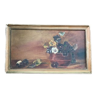 1930s Vintage Still Life with Flower Vase Oil on Canvas Painting For Sale