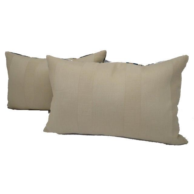 Luigi Bevilacqua of Milan Blue Art Deco Velvet Lumbar Pillows - a Pair For Sale - Image 11 of 12