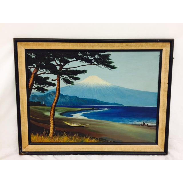 Framed Vintage Island Landscape Oil Painting For Sale - Image 9 of 9