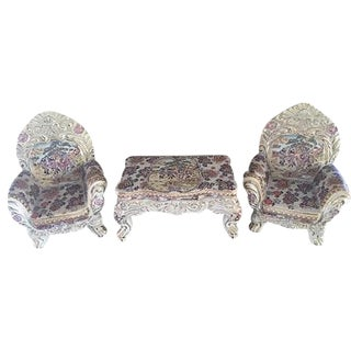 Ornate Satsuma Miniature Table & Chairs - Set of 3 For Sale