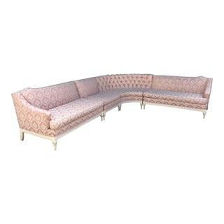 Vintage 4-Piece Hollywood Regency Pink Damask Tufted Sectional Sofa For Sale