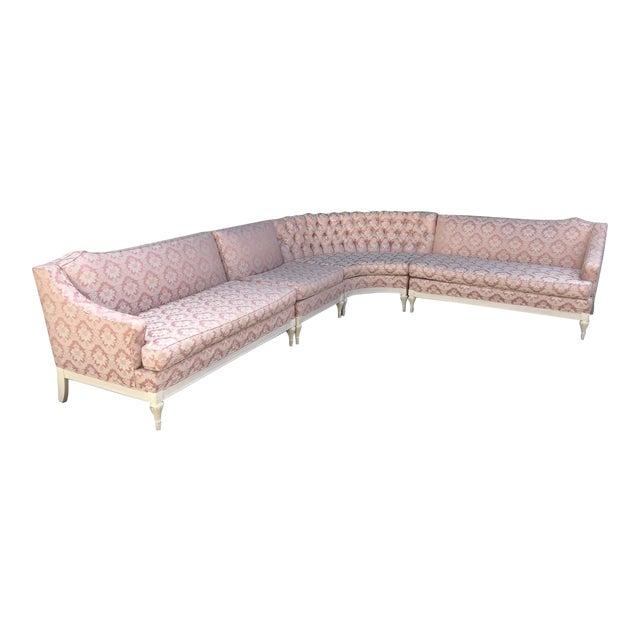 Vintage 4-Piece Hollywood Regency Pink Damask Tufted Sectional Sofa For Sale
