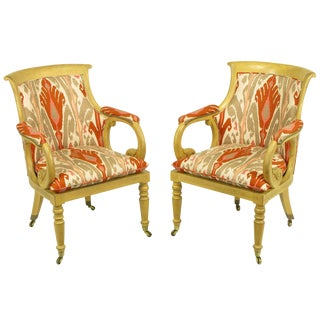 Pair of Interior Crafts Regency Scrolled Arm Chairs in Ikat Fabric For Sale